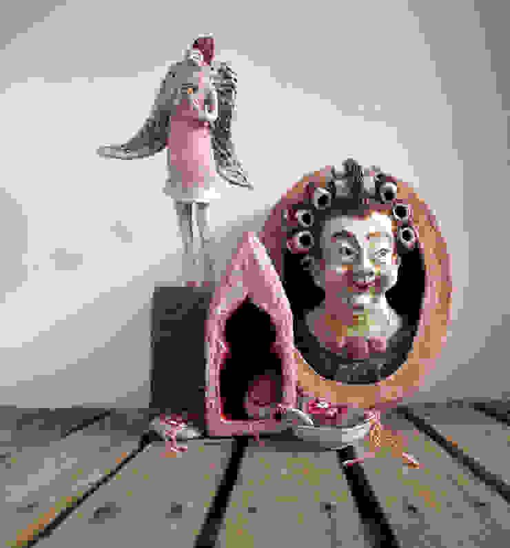 Handgemaakte sculpturen van papier mache van The Paper Moon Factory Rustiek & Brocante