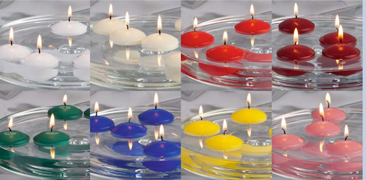 White, red, blue and yellow floating candles de The London Candle Company Moderno