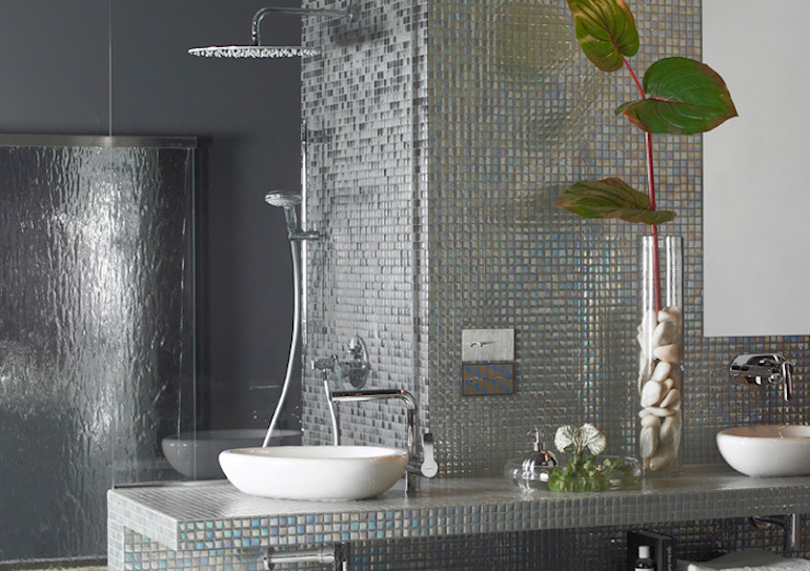 Cast Iron The Mosaic Company Minimalist bathroom