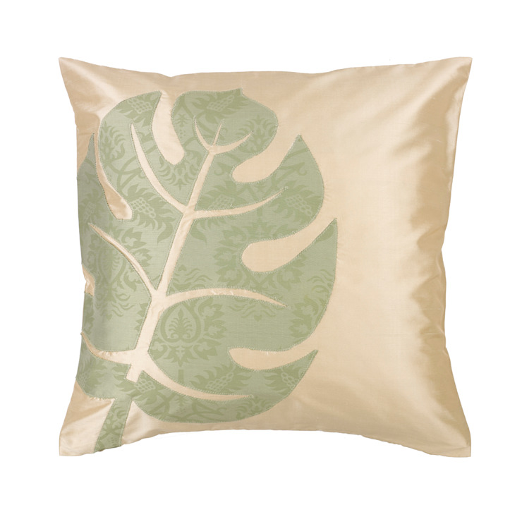 Tropical Leaf Handmade Silk Cushion: tropical  by Le Cocon, Tropical