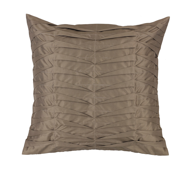 Hand Pleated Charcoal Silk Cushion: asian  by Le Cocon, Asian