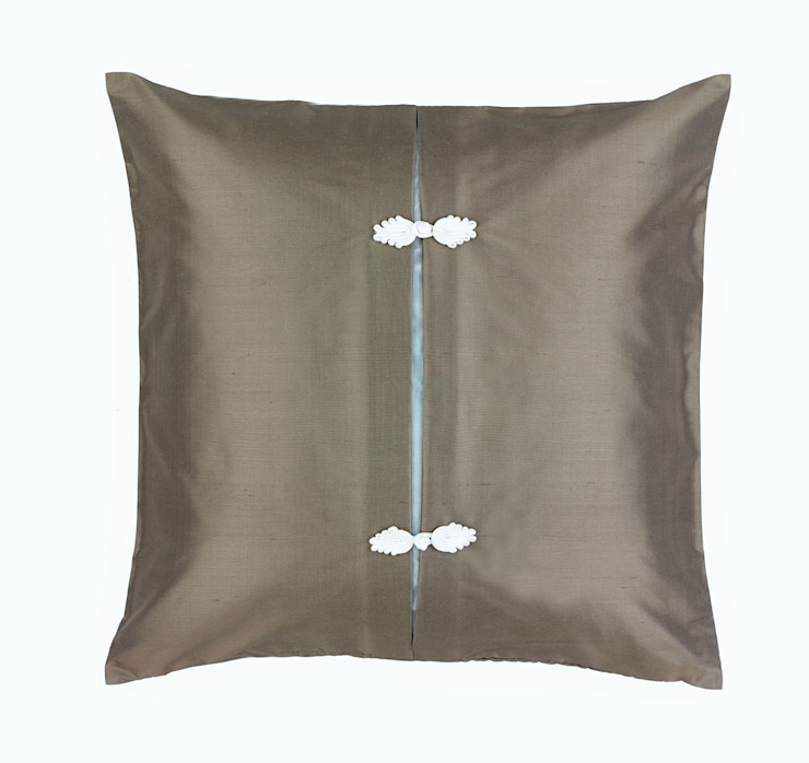 Asiatique Handmade Charcoal Silk Cushion: asian  by Le Cocon, Asian
