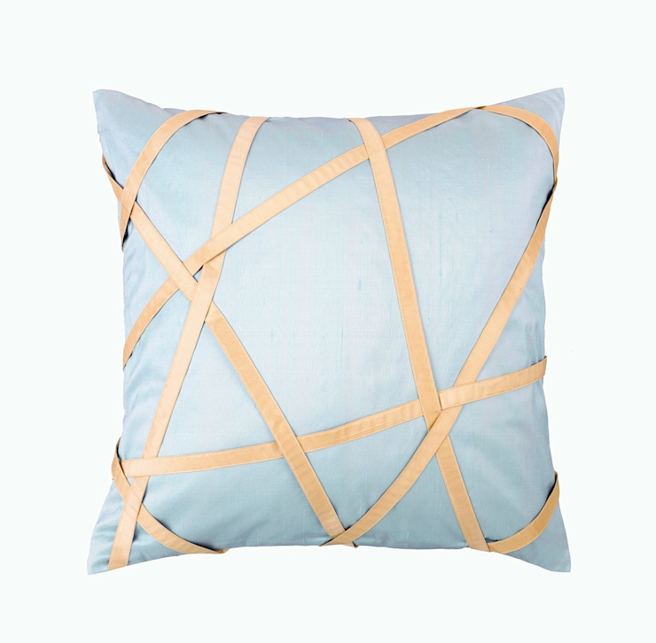 Tres Chic Azure Handmade SIlk Cushion by Le Cocon