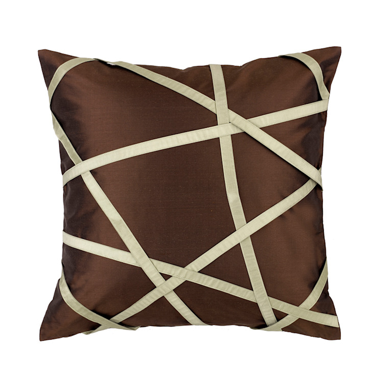 Tres Chic Mocha Handmade SIlk Cushion by Le Cocon