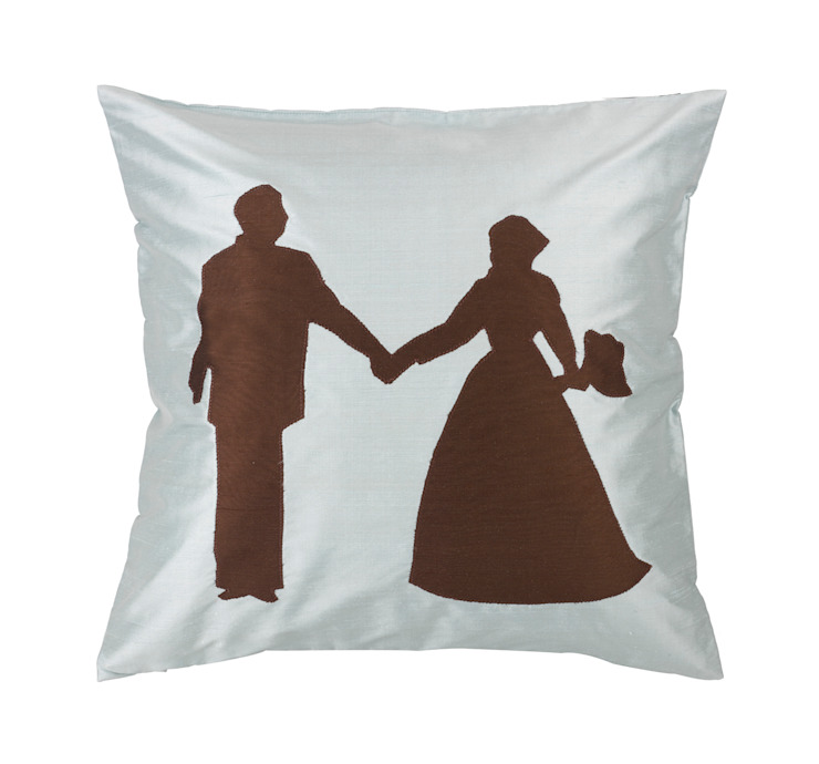 Bride and Groom Handmade Silk Cushion: classic  by Le Cocon, Classic