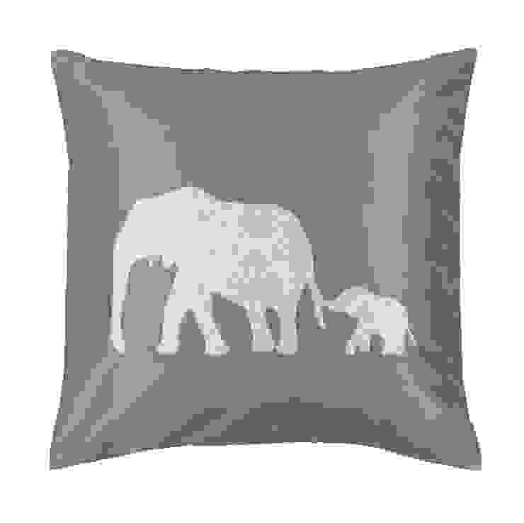 Elephant Duo Handmade Silk Cushion: asian  by Le Cocon, Asian