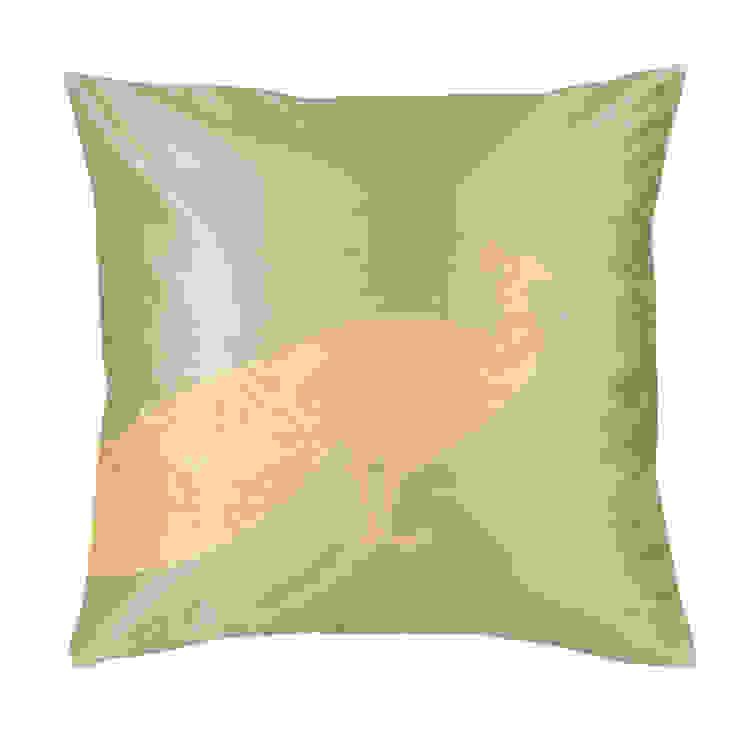 Peacock Handmade Silk Cushion: asian  by Le Cocon, Asian