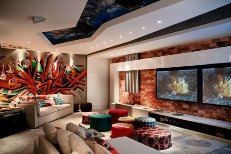 Home Theater CASACOR Salas multimídia asiáticas por Arte do Rizo Asiático