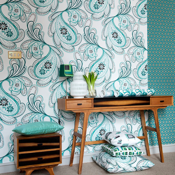 Strawberry Fields Wallpaper in colour Minty by Gill Nono