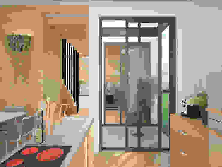 Cocina con jardín interior Espacios de Ibu 3d