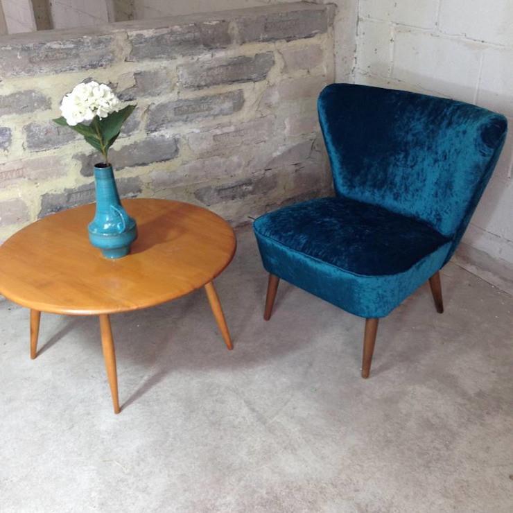 Teal Velvet 1950's Cocktail Chair: eclectic  by Sketch Interiors, Eclectic