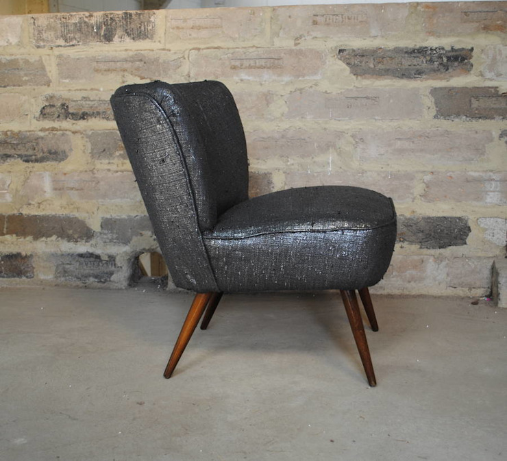 Gun Metal Boucle 1950's Cocktial Chair par Sketch Interiors Éclectique