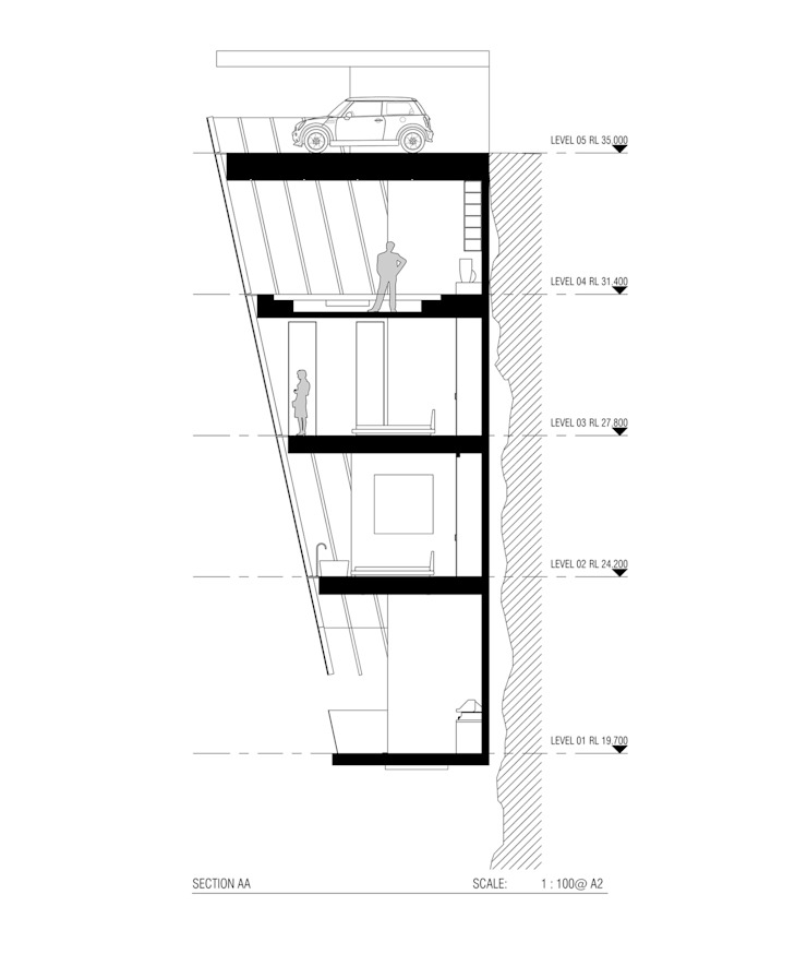 Cliff House by Modscape Concept cross section de Modscape Holdings Pty Ltd