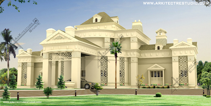 kerala style luxury home designs by Arkitecture studio: colonial  by Arkitecture studio,Architects,Interior designers,Calicut,Kerala india,Colonial