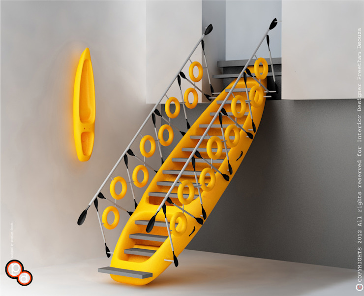 Kayak staircase yellow Modern Corridor, Hallway and Staircase by Preetham Interior Designer Modern