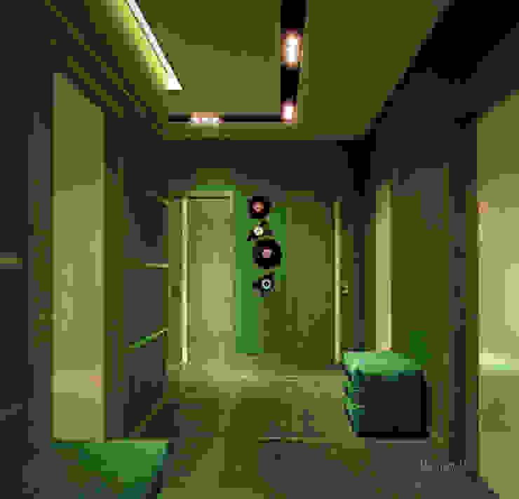 """Дизайн прихожей в современном стиле в ЖК """"Янтарный"""" Коридор, прихожая и лестница в модерн стиле от Студия интерьерного дизайна happy.design Модерн"""
