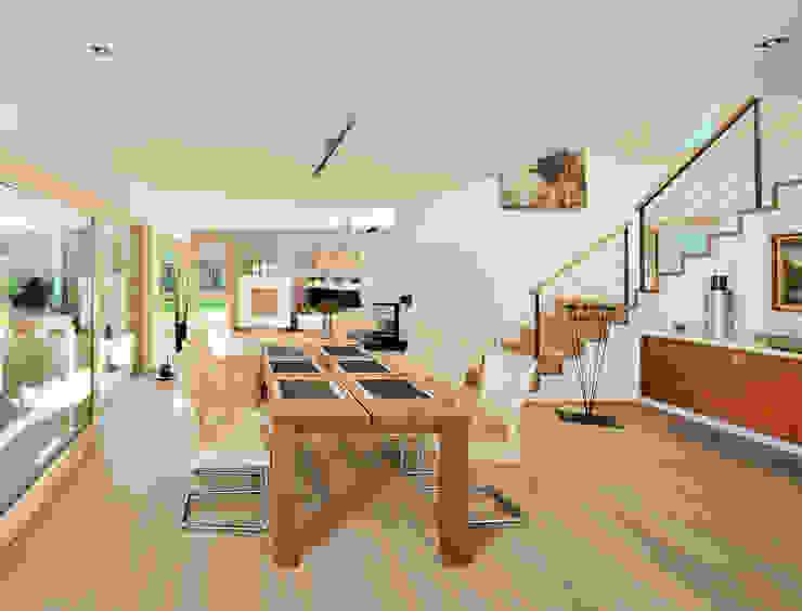 Essbereich mit angrenzendem Wohnbereich: modern  von Bau-Fritz GmbH & Co. KG,Modern