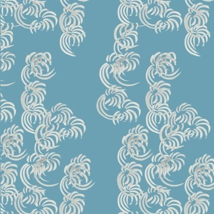 Fullblown- hellenic turquoise: modern  by The Biggest Blanket Company, Modern