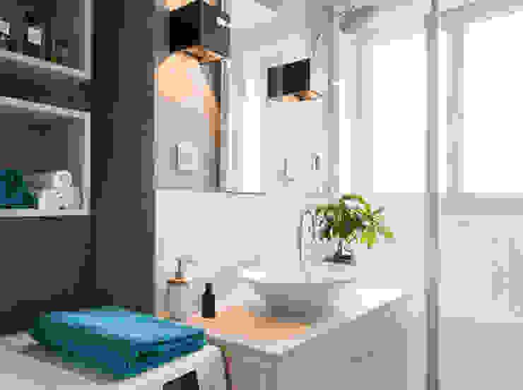 Rénovation d'un appartement à Lyon 07 Salon moderne par Marion Lanoë Architecte d'Intérieur Moderne