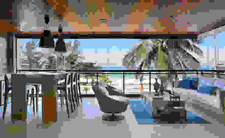 Projeto de Varanda Gourmet com vista privilegiada Varandas, alpendres e terraços modernos por Leila Dionizios Arquitetura e Luminotécnica Moderno
