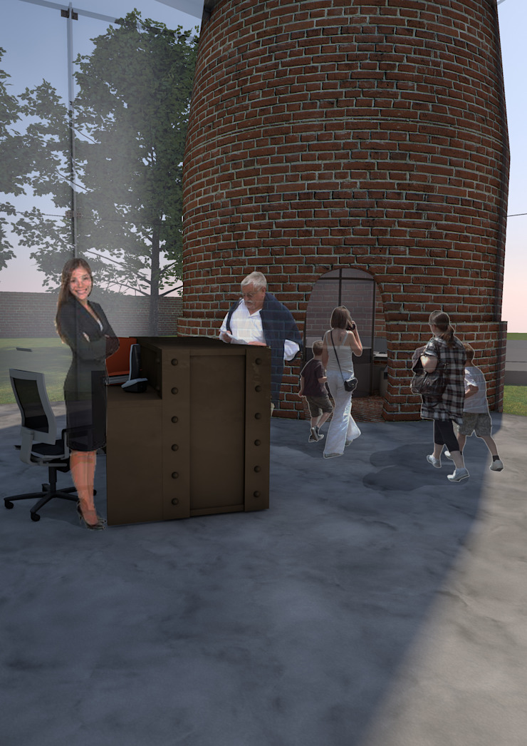 Reception desk/information point in extension: industrial  by Interior Design Graduate, Industrial