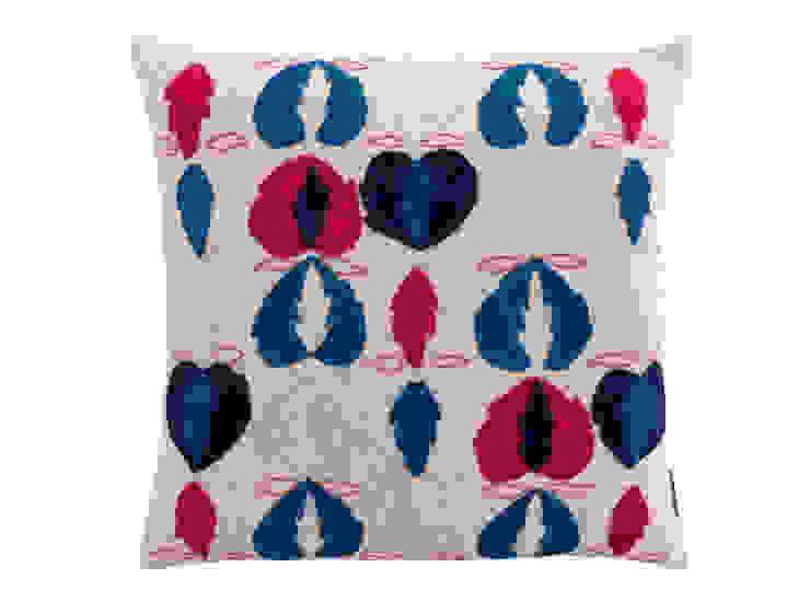 Kit Kemp Heart of Oak - Blue & Red on Cream: modern  by Fine Cell Work, Modern
