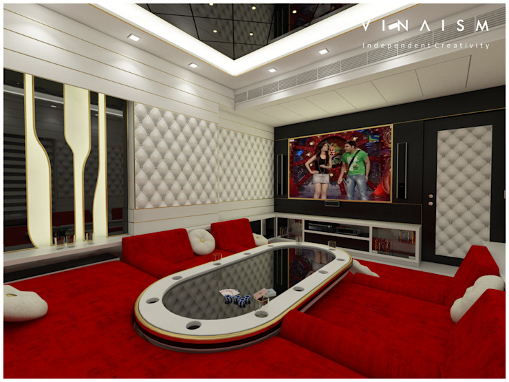white home theater Rooms by V I N A I S M