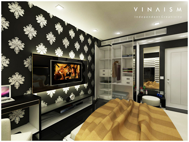 black guest room Bedroom by V I N A I S M