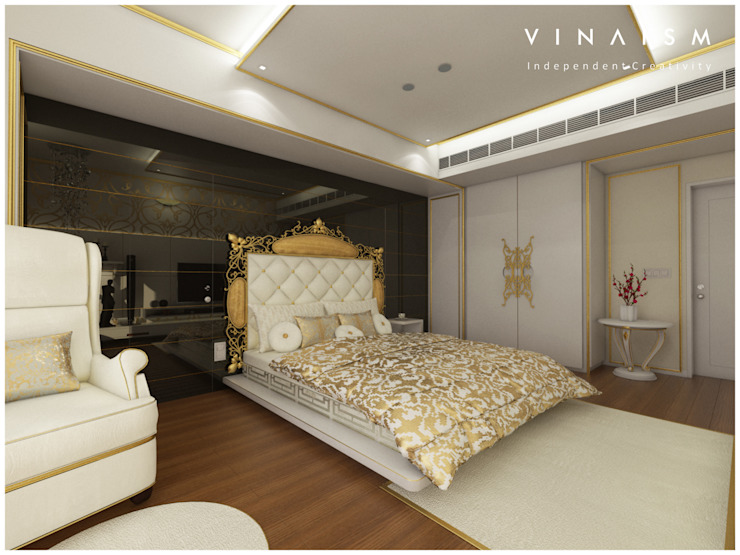 white n golden Bedroom by V I N A I S M