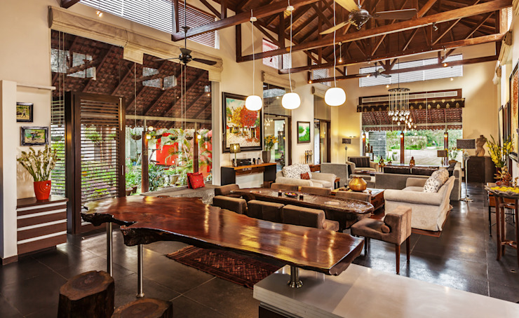 G Farm House Eclectic style dining room by Kumar Moorthy & Associates Eclectic