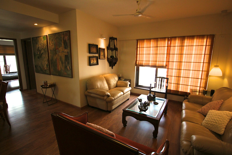 Residence at Yari Road, Versova. Eclectic style living room by Design Kkarma (India) Eclectic
