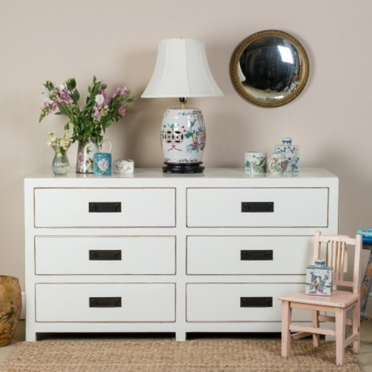 White Lacquer Chest of Six Drawers : asian  by Orchid, Asian