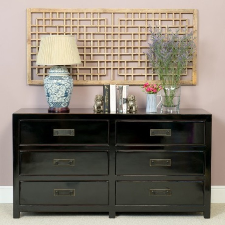 Black Lacquer Chest of Six Drawers : asian  by Orchid, Asian