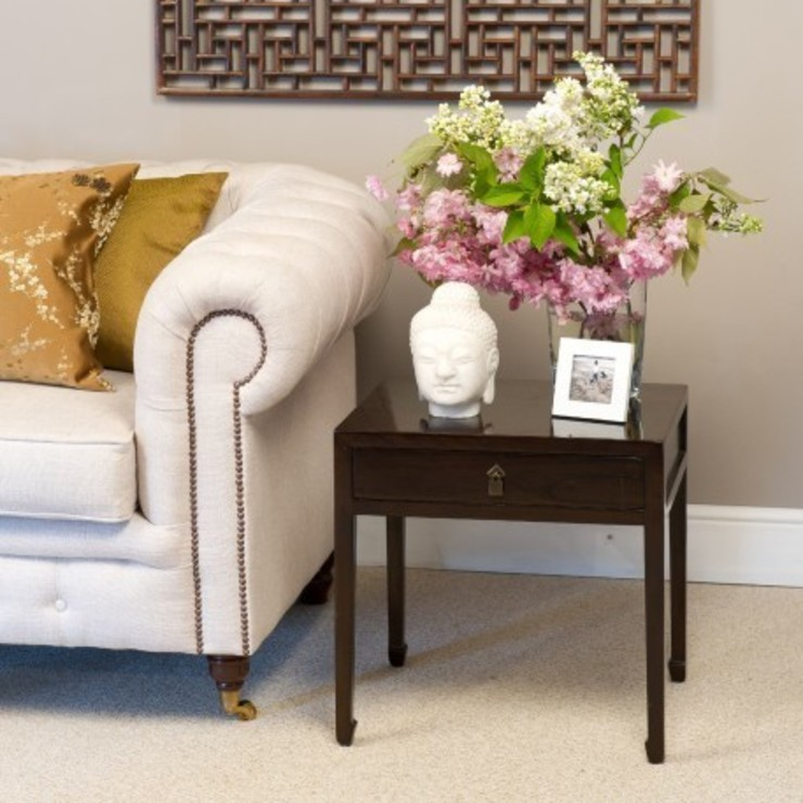 Brown Lacquer Lamp Table: asian  by Orchid, Asian