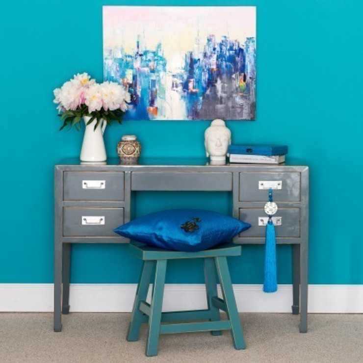 Typhoon Grey Lacquer Desk : asian  by Orchid, Asian