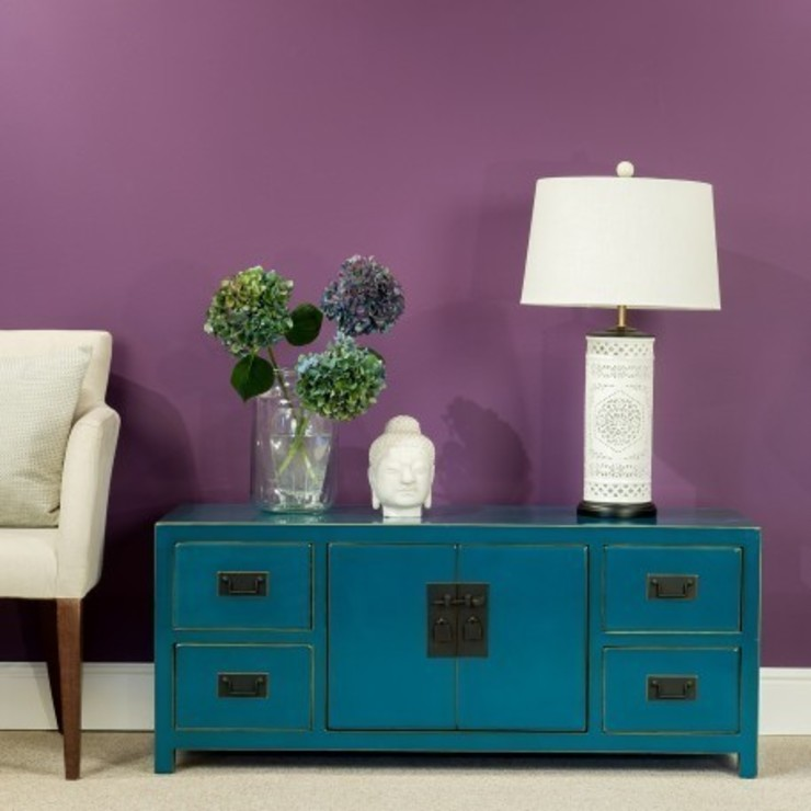 Teal Lacquer Low Cabinet : asian  by Orchid, Asian