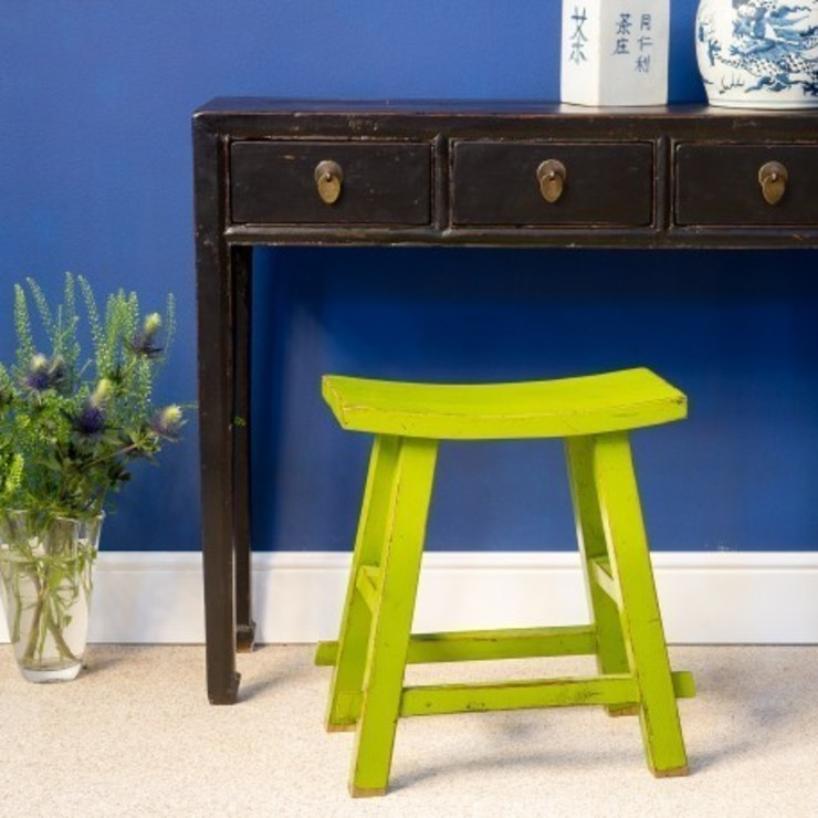 Lime Green Chinese Wooden Stool by Orchid