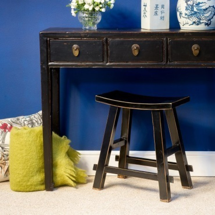 Black Chinese Wooden Stool by Orchid