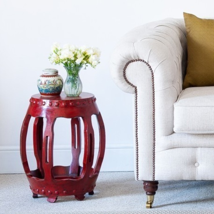 Red Lacquered Oriental Round Table by Orchid