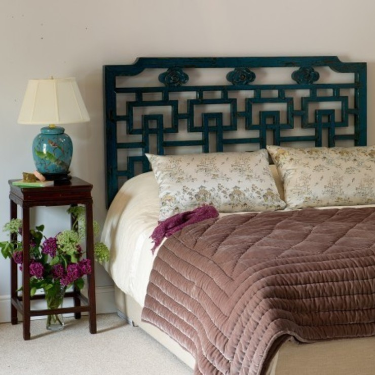 Teal Lacquer Oriental Wooden Fretwork Headboard (Kingsize): asian  by Orchid, Asian