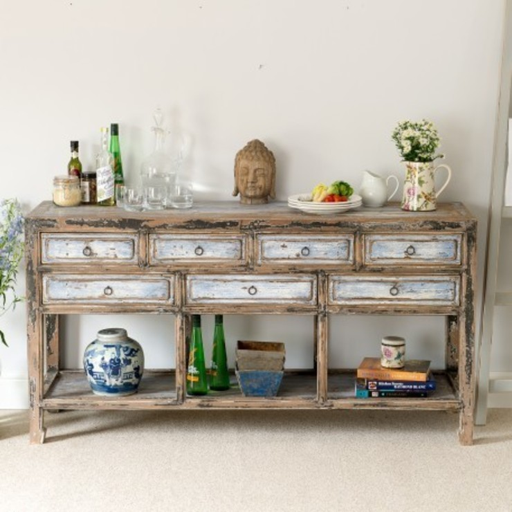 Rustic Blue Distressed Dresser with Seven Drawers : asian  by Orchid, Asian