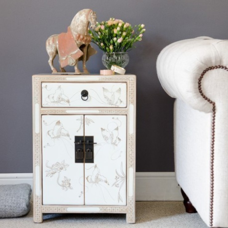 White Decorated Lacquer Bedside Cabinet by Orchid