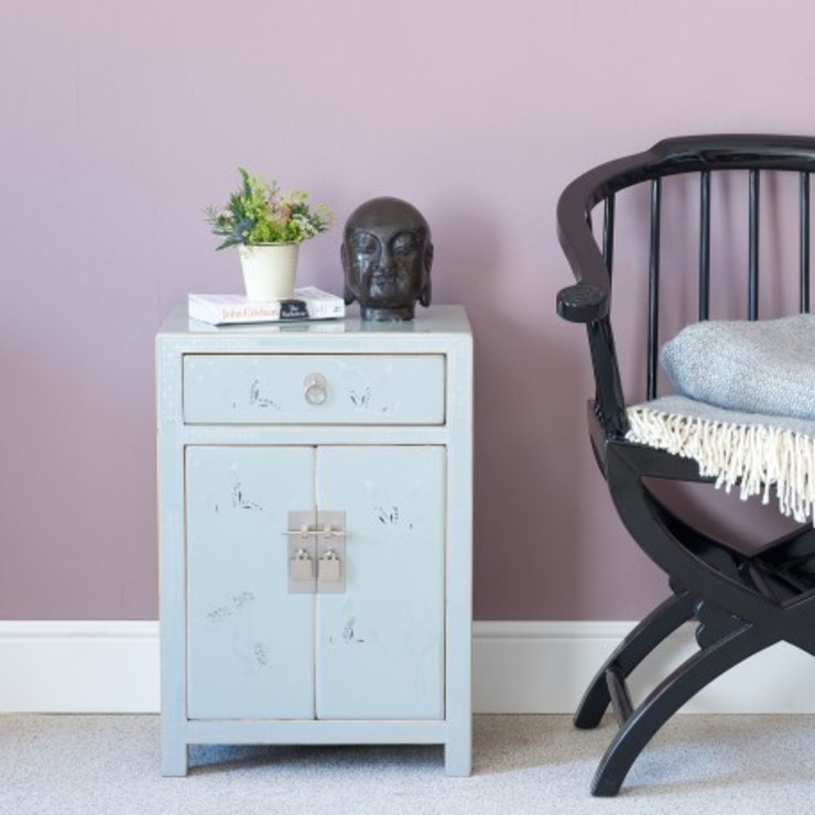 Grey Decorated Lacquer Bedside Cabinet by Orchid