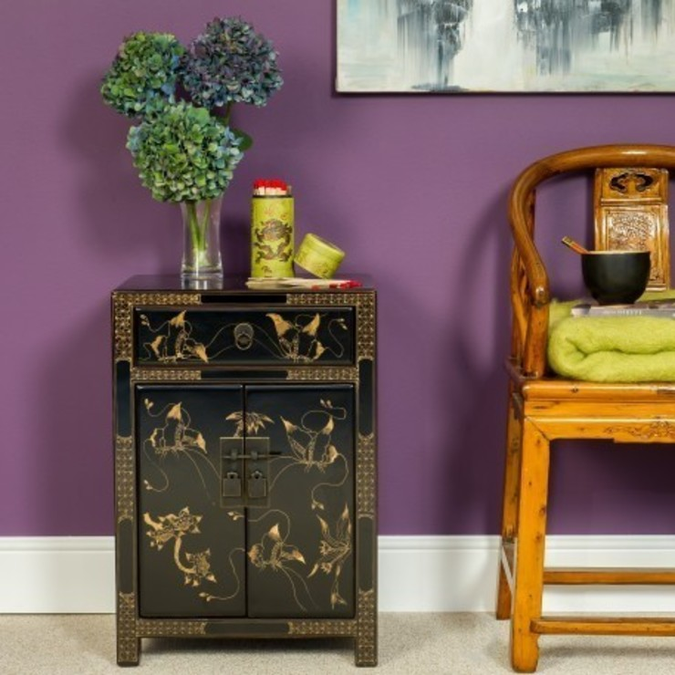 Black Decorated Lacquer Bedside Cabinet by Orchid