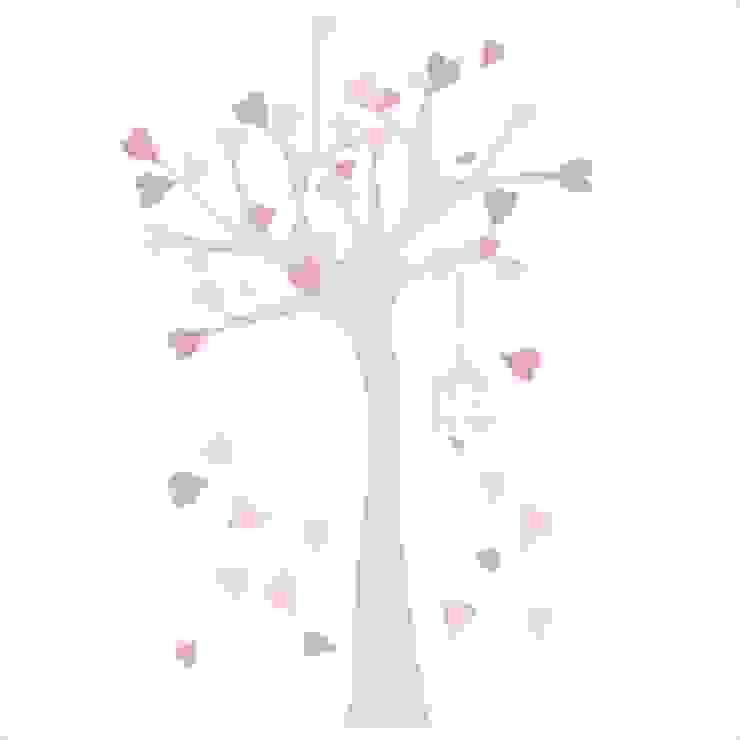 Sticker Arbre à coeurs rose et gris par LILI POUCE Éclectique