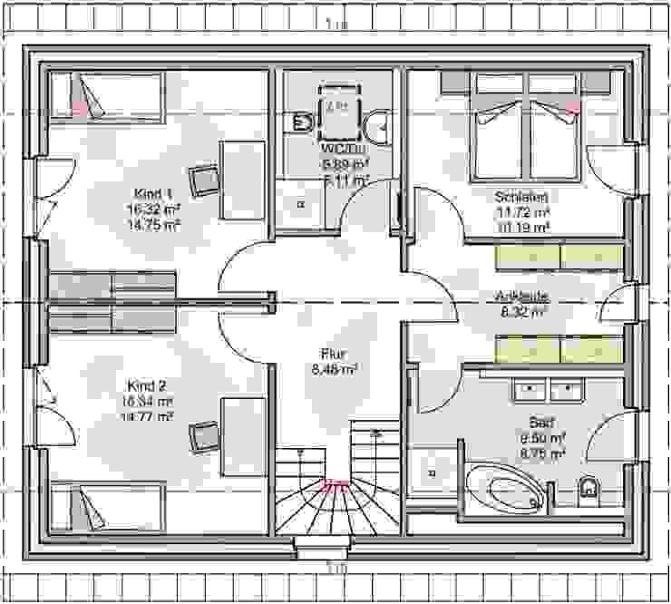 Grundriss Dachgeschoss: modern  von Heinrich Blohm GmbH - Bauunternehmen,Modern