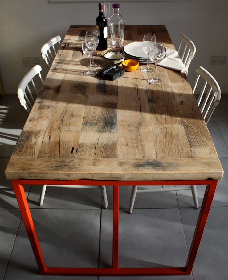 Kanteen Dining Table in Reclaimed French Oak: industrial  by Salvation Furniture, Industrial