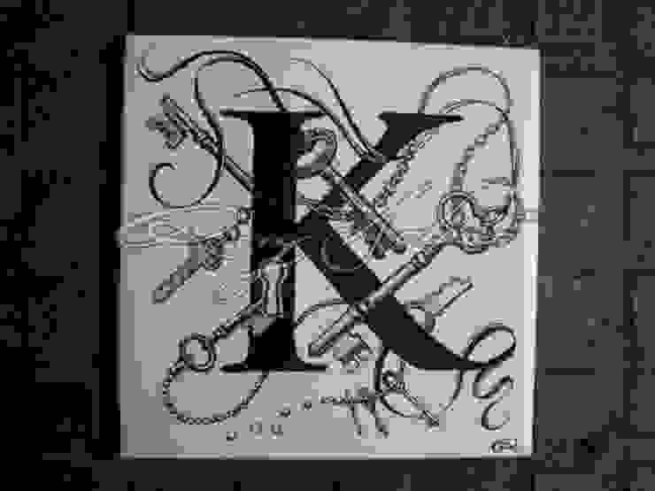 Alphabet Intricate Inks Ceramic Tiles by Rory Dobner