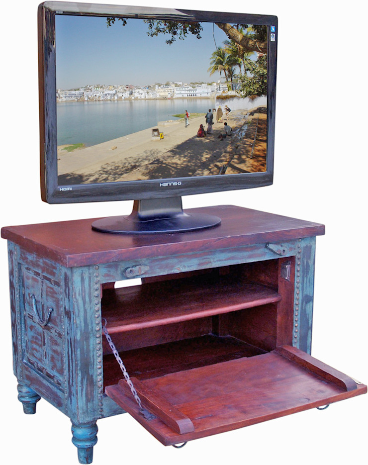 Blaue TV-Truhe von Holztruhen.org Asiatisch