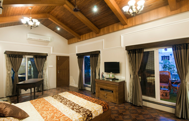 master bed room Classic style bedroom by artha interiors private limited Classic